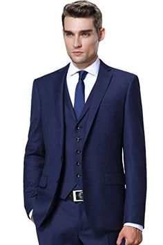 French Navy Blue Lounge Suit | Blue Slim Cut Wedding Suit | Hugh