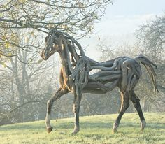 Beautiful horses created out of driftwood by talented artist Heather Jansch