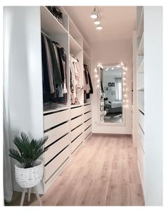Minimalist Closet Design With Drawers With Open Shelving And Holders - A white . - Minimalist Closet Design With Drawers With Open Shelving And Holders – A white minimalist closet - Walk In Closet Design, Bedroom Closet Design, Closet Designs, Bedroom Decor, Small Walk In Closet Ideas, Walk In Closet Organization Ideas, Modern Bedroom, Clutter Organization, Bedroom Organization