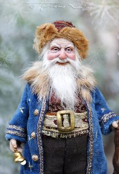 Russian wee Santa One of a kind miniature artdoll by Tatjana Raum dollhouse size Victorian Santa Claus Woodland Creatures, Magical Creatures, Dollhouse Dolls, Miniature Dolls, Ooak Dolls, Art Dolls, Santa Doll, Kobold, Polymer Clay Dolls