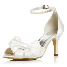[US$ 49.99] Women's Satin Stiletto Heel Pumps Sandals With Bowknot Buckle (047052678)