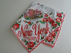 Vintage New York Red & Pink Roses Souvenir by NatureCoastVintage, $20.00 #newyork #vintagenewyork #etsy