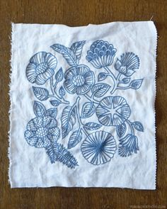 Blue flower embroidery