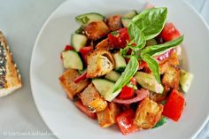 Panzanella with Tomatoes, Cucumber, and Pickled Red Onion