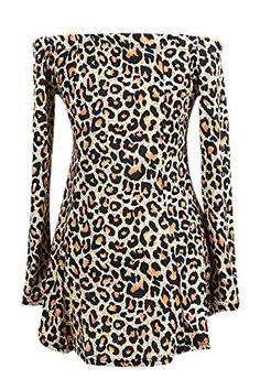 94965a1202 Zamtapary Las Mujeres Elegantes del Hombro Plisado Vestido De Fiesta De  Falda con Estampado De Leopardo
