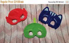 Halloween Mask Sale PJ Super Heroes Set, Children's mask, Red Owl Girl, Blue Cat Boy, Green Gekko Boy