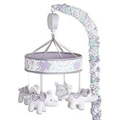 Wendy Bellissimo Baby Mobile Crib Mobile Musical Mobile - Elephant Mobile from the Anya Collection in Lavender and Grey