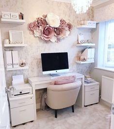 Study Room Decor, Room Ideas Bedroom, Office Wall Decor, Home Wall Decor, Office Room Ideas, Nursery Office, Pink Office Decor, Bedroom Office Combo, Office Inspo