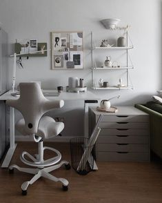 Hands up who wants a home office like this? Super colour co-ordination from award-winning writer @thecrapflat who recently added a HÅG Capisco office chair to her home interior. You can move the seat front and back and up and down, it goes really tall for when you want to perch at standing height, and those little army bits sort of hug you into better posture.Click to learn more and design your own! #flokk #officeinspo #officedesign #homeoffice #officegoals #officedesignideas… Home Office Chairs, Home Desk, Home Office Space, Large Bookshelves, Adjustable Height Desk, Colorful Furniture, Scandinavian Design, Chair Design, Interior