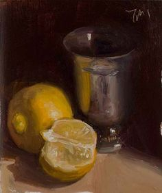 Bergamot's with silver goblet A Daily painting by Julian Merrow-Smith. 1-9-13