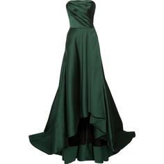 Jason Wu Strapless faille gown (20.060 RON) ❤ liked on Polyvore featuring dresses, gowns, long dresses, jason wu, long gown, jason wu gown, green ball gown, green evening gown and jason wu dresses