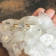 natural rose cut grey diamond ring + arc diamond wedding band :: Alexis Russell