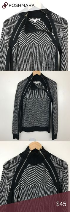 Tommy Hilfiger Zippered Turtleneck Sweater Tommy Hilfiger Zippered Turtleneck Sweater in black and white. 62% Cotton, 31% Acrylic, 7% Nylon. Size Large. Bust(pit to pit): 19in; Length(from shoulders): 24in. In great used condition. Tommy Hilfiger Sweaters Cowl & Turtlenecks