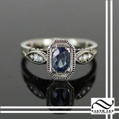 Art deco ring with sapphire and pearls..gorgeous!!!! I would like this setting with diamonds replacing pearls & sapphire