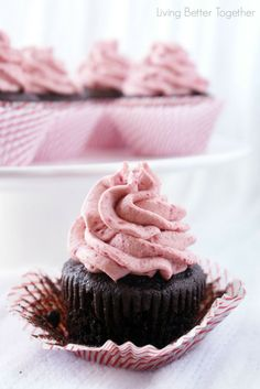 Dark Chocolate Cupcakes with Raspberry Vanilla Creme www.livingbettertogether.com