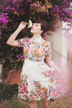 AMAZING collared, floral dress by Mrs Pomeranz