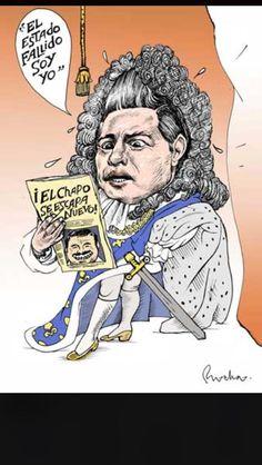 """Va cartón de Rocha sobre Peña Nieto ante fuga de El Chapo: """"El Estado fallido soy yo"""". Vía @Baritono5"""