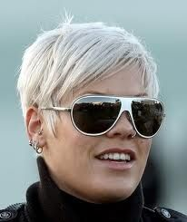 Pink's Pixie haircut, front view