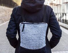 "13"" Laptop Rucksack/ Macbook Backpack/13"" Laptop Backpack/ Cotton Rucksack/ Everyday Backpack/ Crochet backpack Chunky Yarn Recycled Fabric"