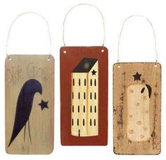 primative wood crows | FOLK ART PRIMITIVE WOODEN TAGS ~ CROW & STAR - SHEEP - SALTBOX HOUSE ...