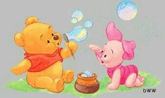 """Baby Winnie the Pooh and Baby Piglet Blowing Bubbles.  """"Winnie the Pooh and Friends"""""""