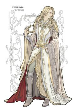 "elf-esteem: Finrod the Wise of Nargothrond, epessë Felagund. He looks very kingly here. I just love the intricate patterns on his clothing. ""Finrod Finarfin's son, fairest of all the princes of the Elves… "" (The Silmarillion ""Of Beren and Luthien"" p.176)(Source: X)"