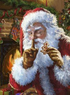 Its Santa - art by Marcello Corti, via advocate-art Christmas Scenes, Father Christmas, Santa Christmas, Christmas Pictures, Winter Christmas, Blue Christmas, Christmas Cross, Christmas Ornaments, Christmas Cookies