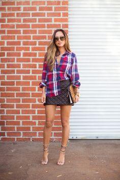 Plaid Shirt/Textured Mini Skirt