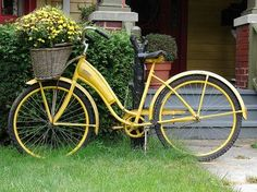 Bike Planter - love the yellow too, but mine will be red with Mack-Chi style Courtly Check