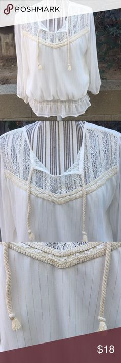 Lovely American rag blouse w/gold stripes Good condition American Rag Tops Blouses