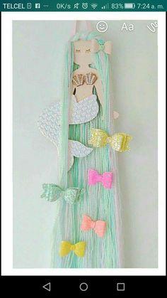 How to Make Unicorn Horns Out of Felt - - Mermaid hair bow holder hair bow organizer mermaid hair clip Mermaid Nursery, Girl Nursery, Girls Bedroom, Girl Rooms, Mermaid Bedroom Decor, Trendy Bedroom, Nursery Room, Hair Bow Hanger, Hair Bow Storage