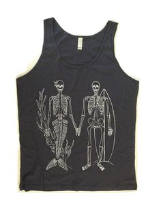 Men and Women Unisex SKELETONS Mermaid and Surfer Skeleton Beach Tank Top by American Apparel Made in the USA  xs, s, m, l, xl , More Colors