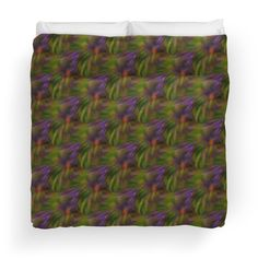 Abstract Colors Of Purple Green Yellow Duvet Cover.  Art by Smilin' Eyes Treasures on Red Bubble.