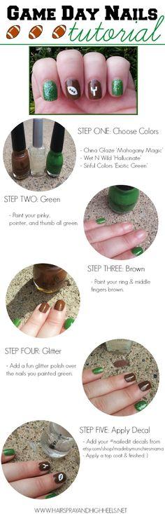 Football Nails #nails #fanicure #nailgating #nails #mani #notd #beauty