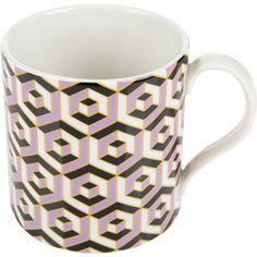 Jonathan Adler Carnaby Mug - Versaille - Purple ($29) ❤ liked on Polyvore featuring home, kitchen & dining, drinkware, purple, porcelain tea cups, porcelain tea mugs, porcelain cups, tea mug and porcelain mugs