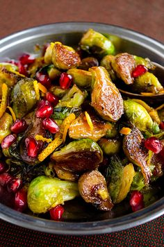 Citrus Caramelized Brussels Sprouts with Pomegranate Molasses.