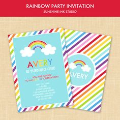 Printable Rainbow Striped or Rainbow Chevron Birthday Party Invitation Digital File on Etsy, $14.00