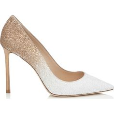 ROMY 100 Optic White and Light Honey Coarse Glitter Degradé Pointy Toe Pumps from Jimmy Choo.
