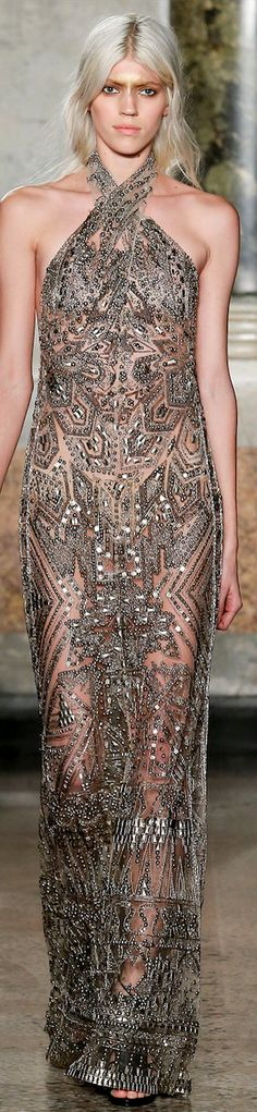 Emilio Pucci RTW Fall 2014 | harvest gold halter gown with embellishment and beading | high fashion