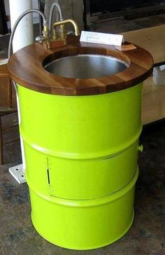"BARREL -- Searching for an industrial look? ""repurpose"" a steel barrel as a sink pedestal! Would work great for a garage / warehouse / man cave. Outdoor Projects, Diy Projects, Project Ideas, Craft Ideas, 55 Gallon Drum, Metal Barrel, Barrel Sink, Oil Barrel, Metal Drum"