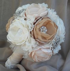 Large vintage fabric bouquet - coral shades, ivory, tan and champagne loaded with crystals and brooches - deposit listing