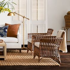Find inspiration and ideas from Williams Sonoma Home's Island Style Living Room. Shop our favorite rooms and styles for decor, furniture, and lighting ideas. Wicker Furniture, Furniture Sale, Rattan Sofa, British Colonial Decor, Textured Walls, Living Room Decor, Living Spaces, Accent Chairs, Flooring