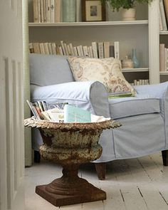 neat place to keep your books - perfect for the garden room