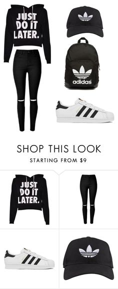 """total black outfit for every day"" by nickplumber ❤ liked on Polyvore featuring adidas, adidas Originals, women's clothing, women, female, woman, misses and juniors"