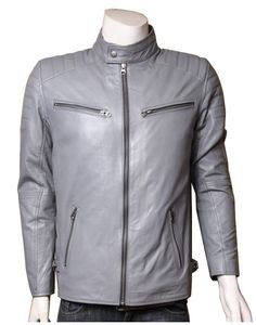 Bikers Grey Slim-fit Leather Jacket,slim fit geniune new, men's leather jacket, available in hot sale price with free shipping