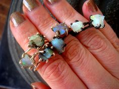 Raw opal ring | Australian opal ring | Rough opal ring | Australian fire opal jewelry | Fire opal ring | Opal Stack Ring by NuitetJour on Etsy https://www.etsy.com/listing/229341231/raw-opal-ring-australian-opal-ring-rough