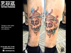 Tatuaje a color estilo New School con una calavera.