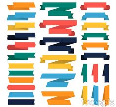 30 colored paper ribbons design vector