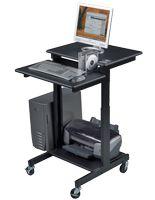 Media Cart with 2 Platforms, Height-Adjustable, 10 CD Rack, CPU Holder - Black