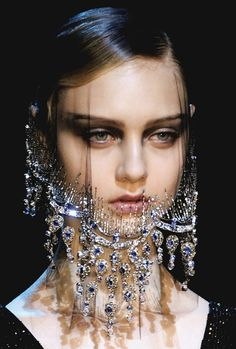 A jeweled beard, how...ugly.  velo * Armani haute couture 2012